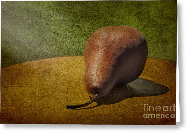 Sunlit Pear Greeting Card by Susan Candelario