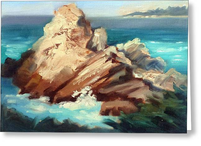 Sunlit Rock Point Lobos Greeting Card by Karin  Leonard