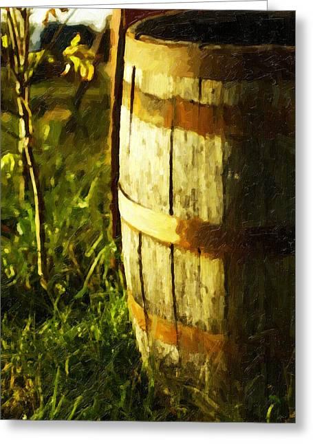 Sunlit Wooden Barrel-three Greeting Card by David Allen Pierson
