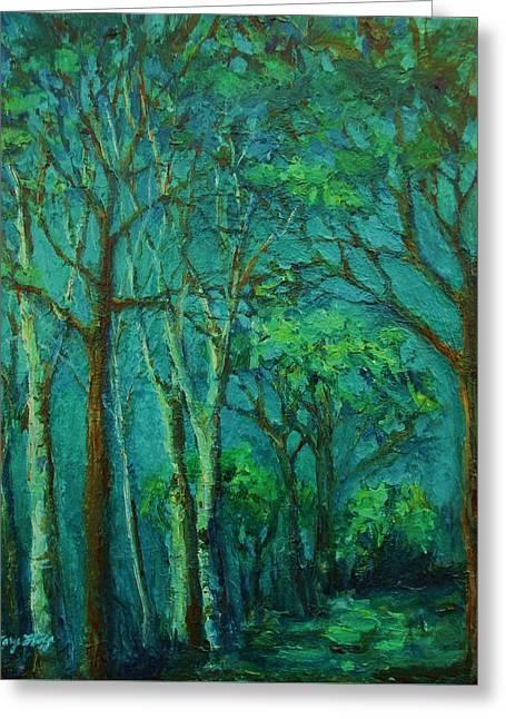 Sunlit Woodland Path Greeting Card
