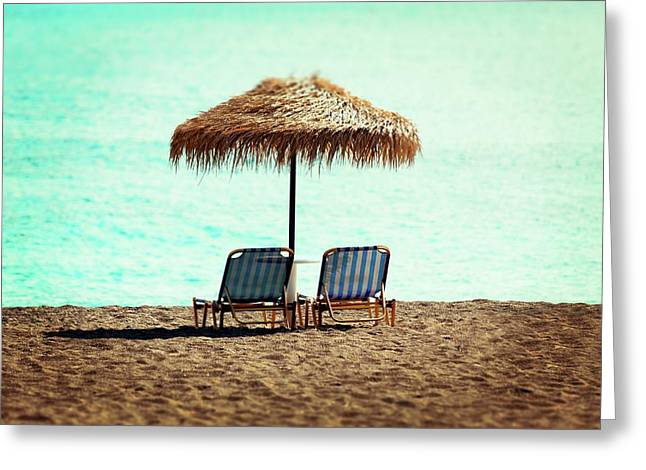Sunloungers And Parasol Greeting Card by Wladimir Bulgar