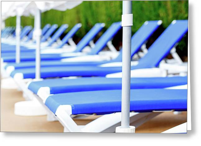 Sunloungers In A Row Greeting Card