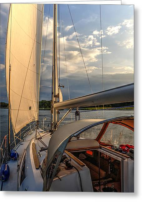 Sunny Afternoon Inland Sailing In Poland 2 Greeting Card