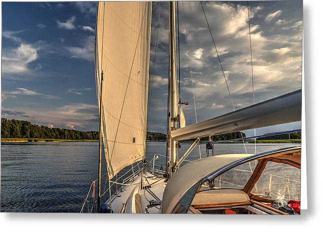 Sunny Afternoon Inland Sailing In Poland Greeting Card