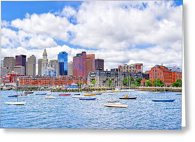 Sunny Afternoon On Boston Harbor Greeting Card by Mark E Tisdale