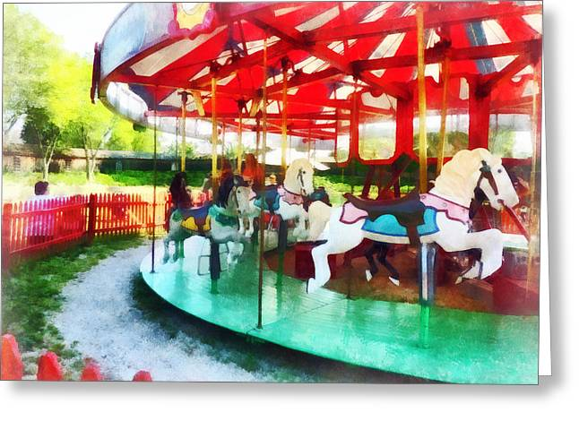 Sunny Afternoon On The Carousel Greeting Card