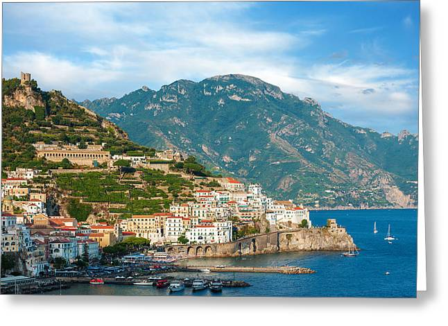 Sunny Amalfi City Greeting Card by Gurgen Bakhshetsyan