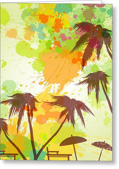 Sunny Beach Watercolor Vector Greeting Card by Lunetskaya