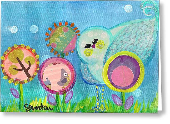 Sunny Birdy And The Dandies Greeting Card