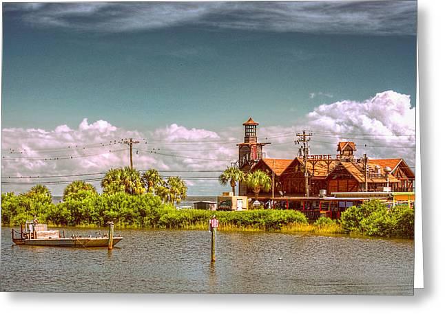 Sunny Day At Cedar Key Greeting Card by Lewis Mann