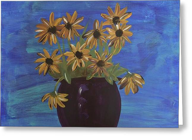 Greeting Card featuring the painting Sunny Day Sunflowers by Tatum Chestnut