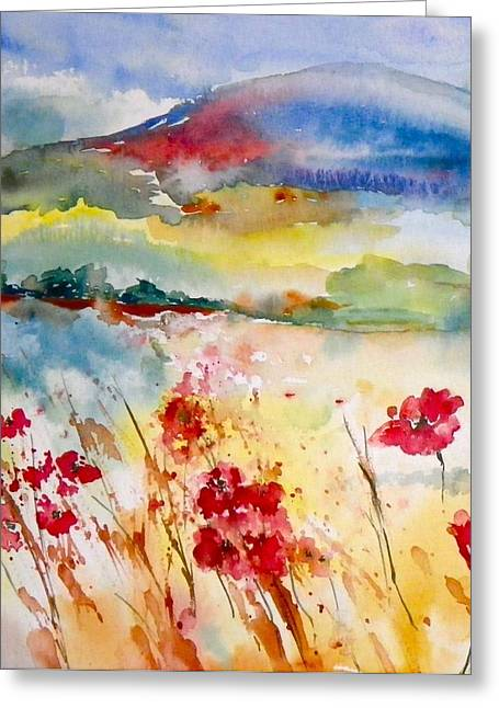 Sunny Field Greeting Card by Anna Ruzsan