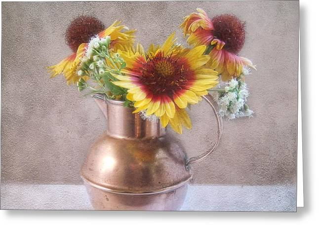 Greeting Card featuring the photograph Sunny Treasure Flowers In A Copper Jug by Louise Kumpf