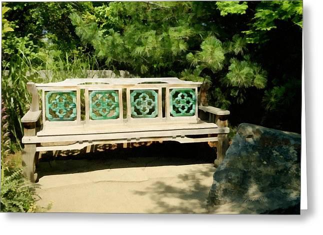 Sunny Garden Bench Greeting Card