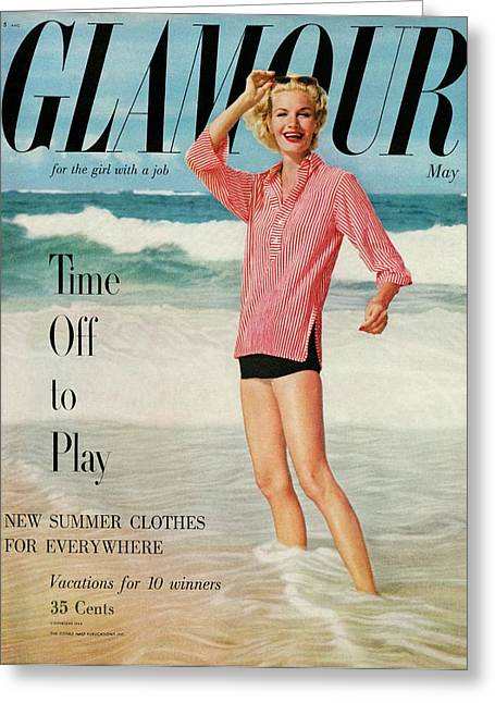 Sunny Harnett On The Cover Of Glamour Greeting Card by  Leombruno-Bodi