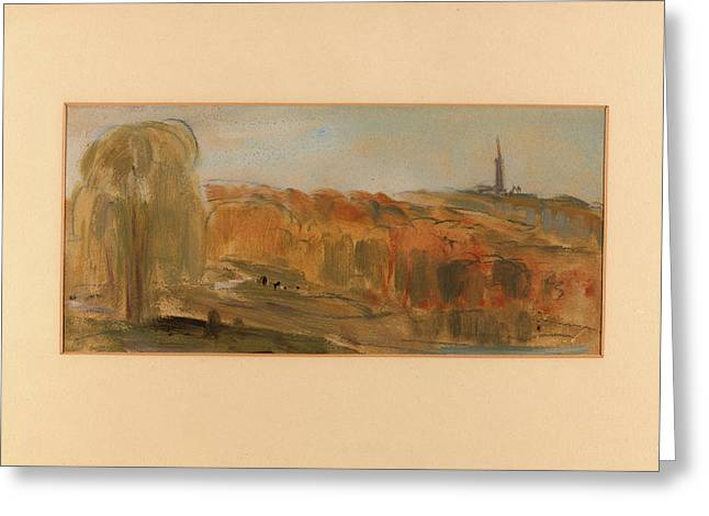 Sunny Landscape With Trees And Monument On A Hill Greeting Card by Litz Collection