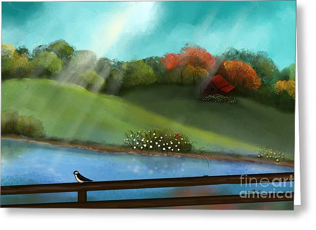 Sunny Meadow By The Water Greeting Card by Nancy Long