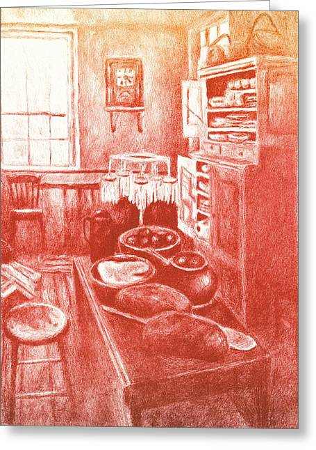 Sunny Old Fashioned Kitchen Greeting Card
