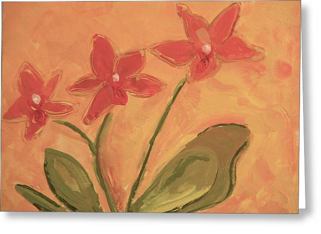 Sunny Orchids Greeting Card by Valerie Lynch