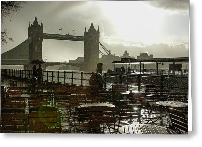 Sunny Rainstorm In London England Greeting Card