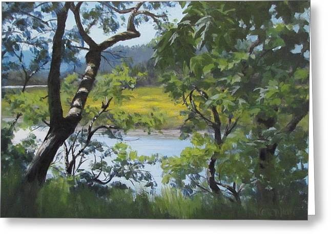 Sunny River Greeting Card by Karen Ilari