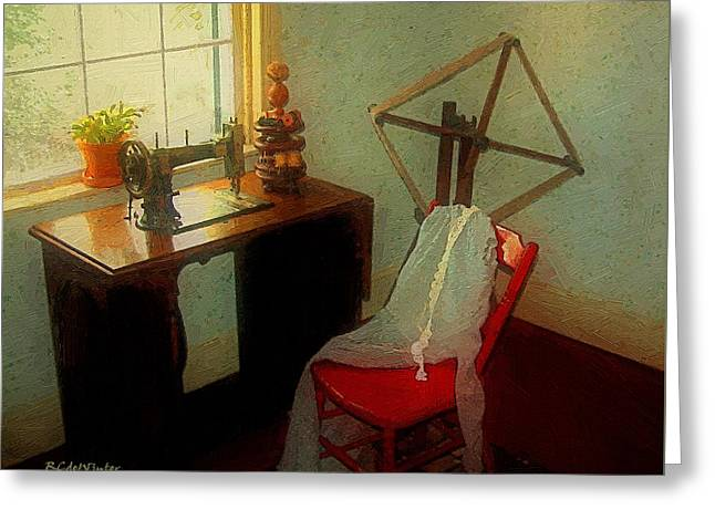 Sunny Sewing Room Greeting Card by RC deWinter