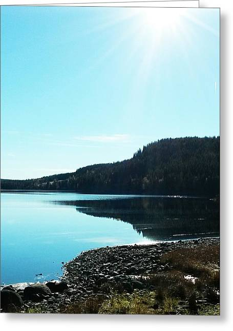 Sunny Sky By The Lake Greeting Card