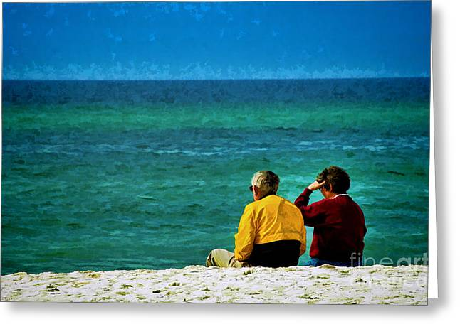 Sunny Winter Day At Beach Greeting Card by Dave Bosse