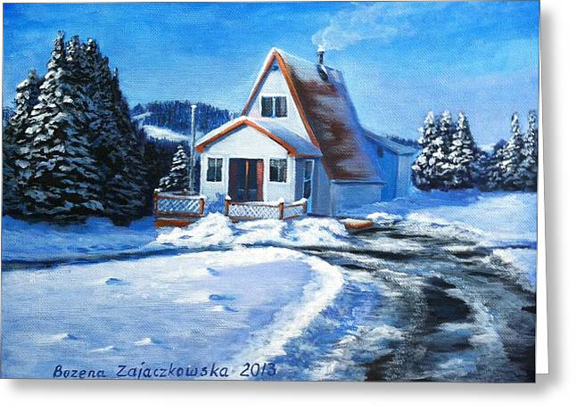 Sunny Winter Day By The Cabin Greeting Card