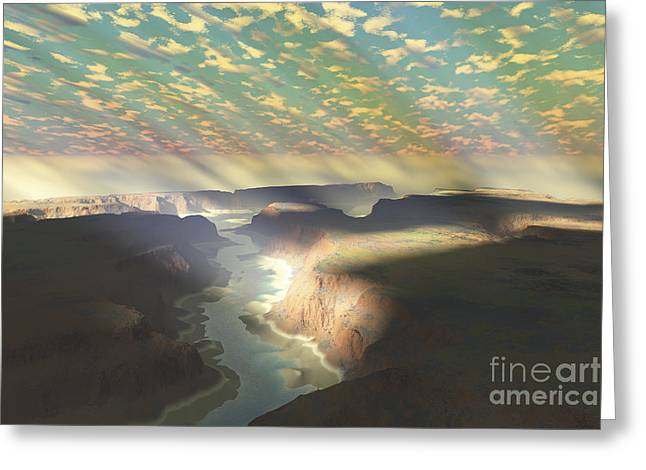 Sunrays Shine Down On Mist Greeting Card by Corey Ford