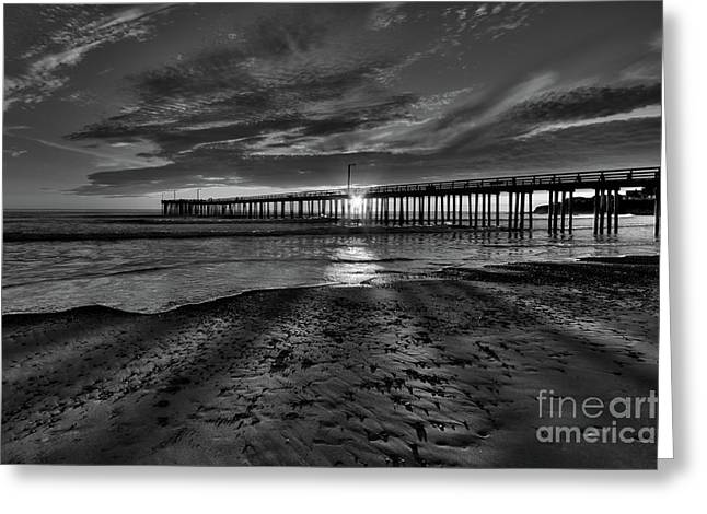 Sunrays Through The Pier In Black And White Greeting Card