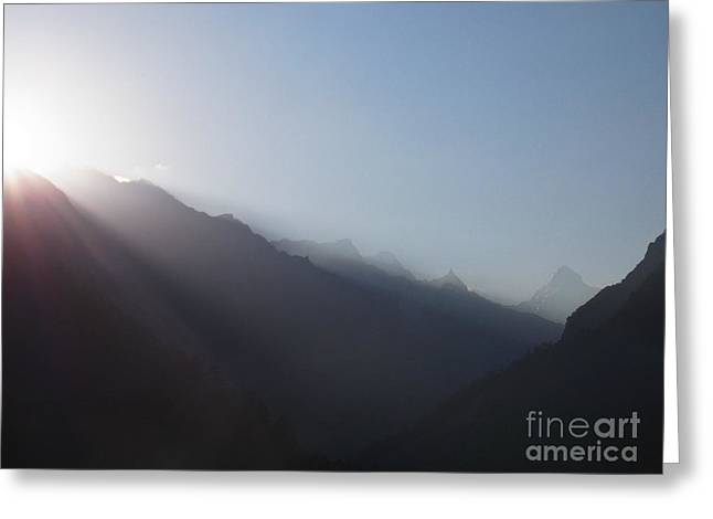 Sunrise Above Gangotri Greeting Card by Agnieszka Ledwon