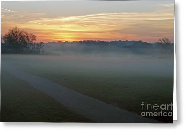 Sunrise Across The Fog Path Greeting Card