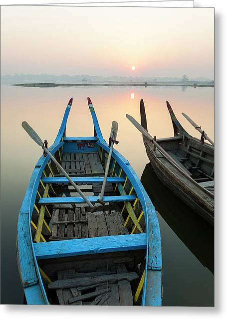 Sunrise, Amarapura, Mandalay, Burma Greeting Card by Peter Adams