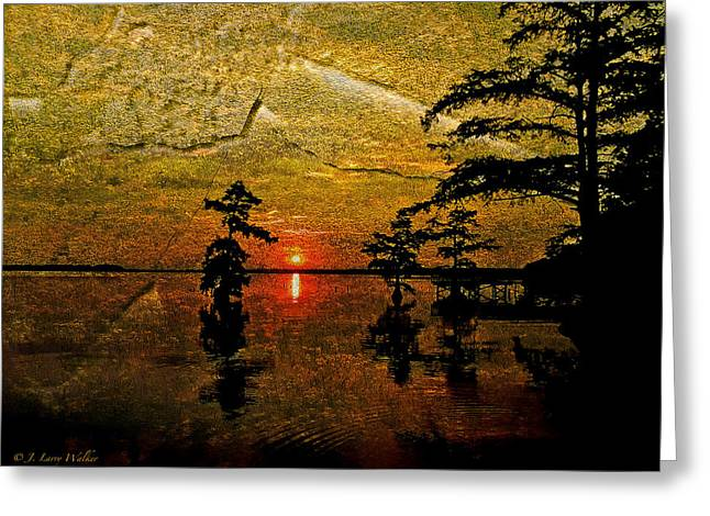 Sunrise And Cypress Abstract Greeting Card by J Larry Walker