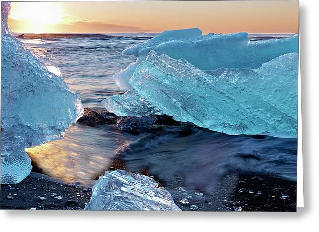 Sunrise And Iceberg Formation Greeting Card by Tom Norring