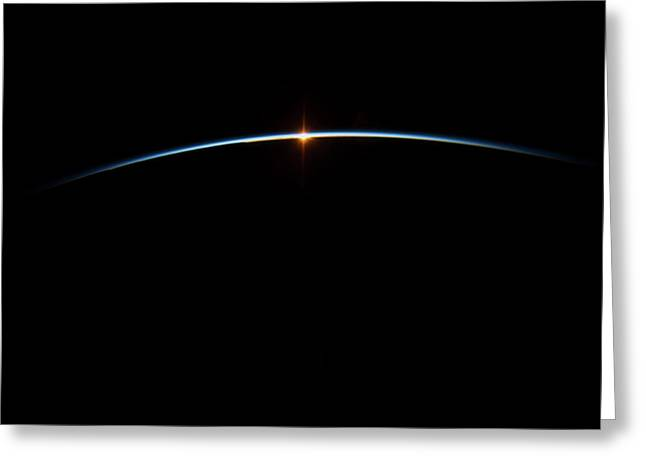 Sunrise And Sunset Over Earth Greeting Card