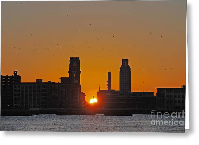 Sunrise And The City Greeting Card