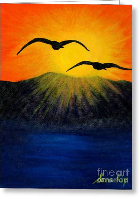 Sunrise And Two Seagulls Greeting Card