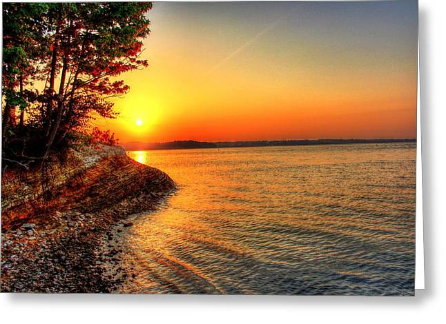 Sunrise Around The Bend Greeting Card