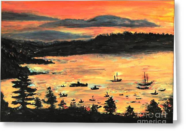Greeting Card featuring the painting Sunrise At Bar Harbor Maine by Helena Bebirian