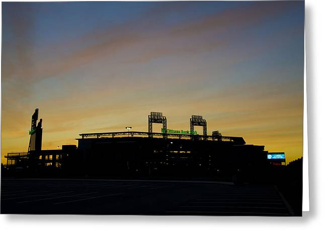 Sunrise At Citizens Bank Park Greeting Card by Bill Cannon