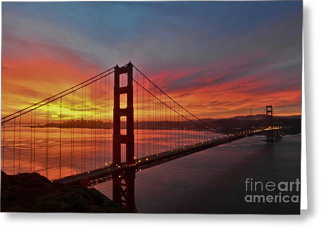 Sunrise Over The Golden Gate Bridge  Greeting Card by Peter Dang