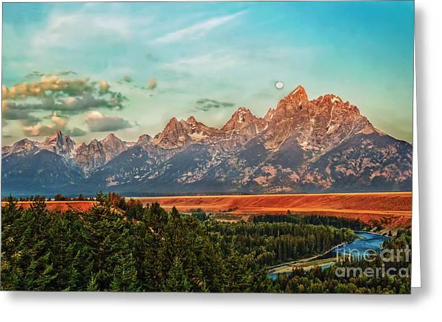 Sunrise At Grand Tetons Greeting Card by Robert Bales