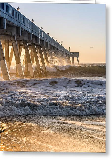 Sunrise At Johnnie Mercer Pier Greeting Card