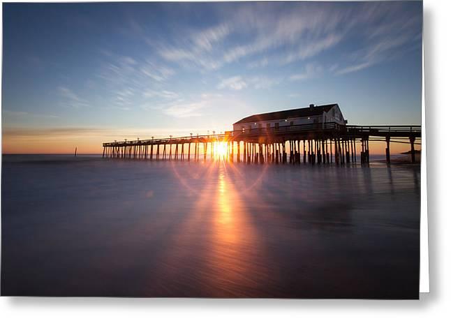 Sunrise At Kitty Hawk Pier Greeting Card