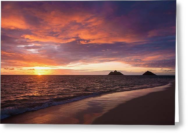 Sunrise At Lanikai Beach  Kailua Greeting Card by Tomas del Amo
