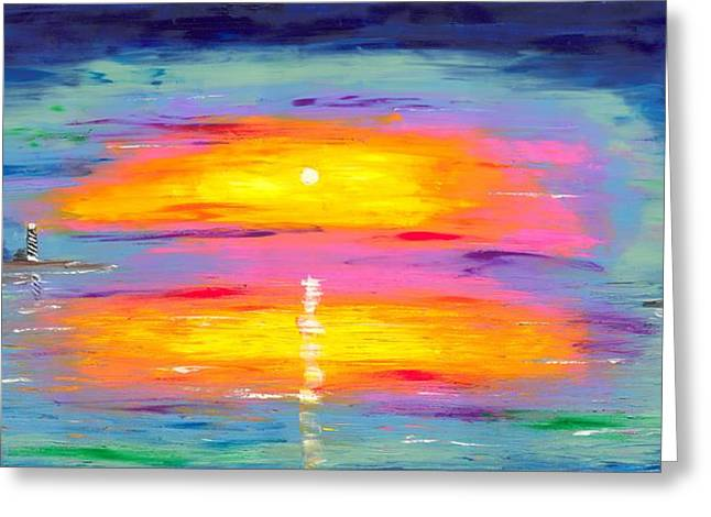 Sunrise At Lighthouse Point Greeting Card by Jessilyn Park