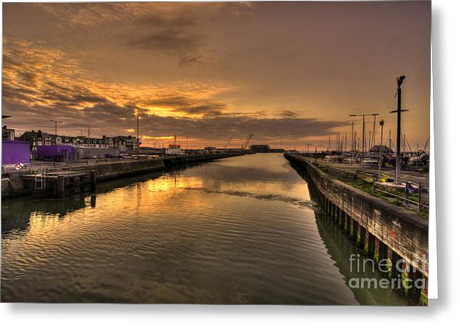 Sunrise At Lowestoft Harbour  Greeting Card by Rob Hawkins