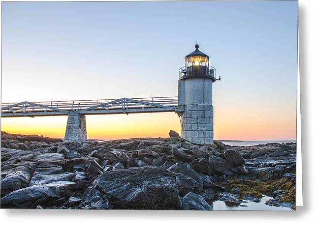 Sunrise At Marshall Point Lighthouse Greeting Card by Gary Wightman